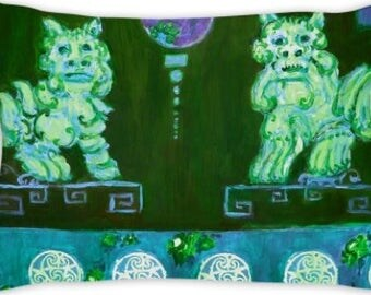 Green foo dog, pillow, with pink roses chinoiserie