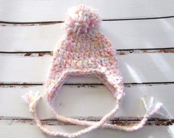 Girl Newborn Hat, Baby Girl Coming Home Hat, Infant Ear Flap Hat, Newborn Pom Pom Hat, Newborn Hat, Baby Crochet Hat, Pink