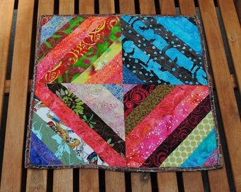 Quilted Table Topper  Batik String Pieced Candle Mat Table Runner Quilt Wallhanging