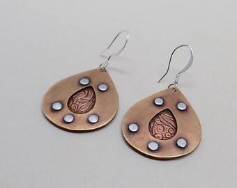 Steampunk earrings. Mixed metal earrings.