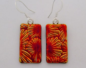 Dichroic glass jewelry dangly earrings.