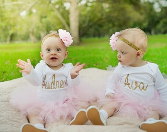 Personalized First Birthday Outfit Girl Bodysuit, Cake Smash Outfit Girl Bodysuit, 1st Birthday Outfit Bodysuit, Gold Glitter 1st Birthday