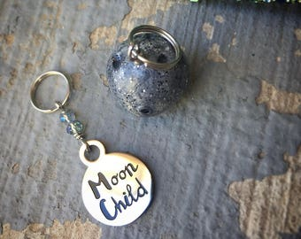 Moon Child, Moon Wild: Set of 2 Moon Stitch Markers for Knitters & Crocheters