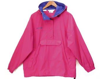 vintage 90's PINK Columbia hoodie jacket // windbreaker parka shell // magenta pullover anorak // women's L