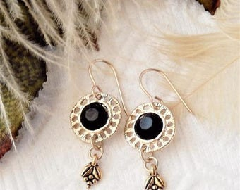 ChristmasInJulySALE..... Sale......One of a Kind Gold Vermeil and Black Dangle Earrings