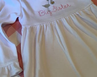 Embroidered Stork Dress Big Sister Little Sister Baby