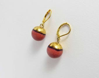 Ceramic earrings, pink bowls with gold hat.