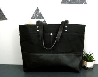 All black tote, Waxed Canvas Tote, Leather Bottom Bag, Sturdy Work Bag, laptop Tote bag, Large Commuter Bag, Knitting Bag, Tablet bag