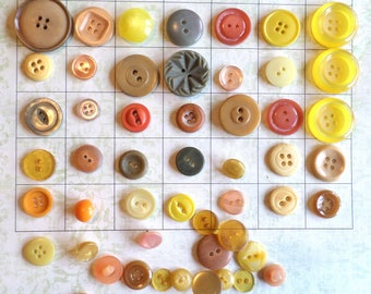 50 Shades of FALL VINTAGE Buttons Orange Brown Yellow Buttons Shank Buttons Autumn Colors