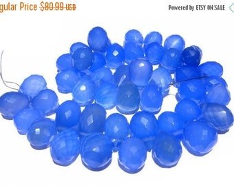 50% Off Sale 7.5 inches -  Finest Quality Blue Chalcedony Faceted Drop Briolettes Size 11 x8 - 12x8mm approx