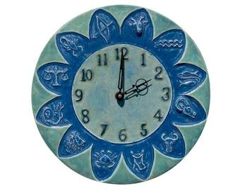 Zodiac Ceramic Wall Clock in Blue  (11 inches in diameter)