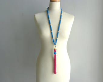 Pink blue tassel Statement necklace longer style, colorful necklace, tribal necklace, boho tassel necklace
