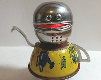 ROBOT NIGHTLIGHT: I'm a Little TeaBot, Assemblage Art Recycled Robot Sculpture