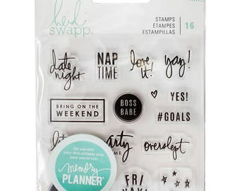 Heidi Swapp Weekend Planner Stamp Set,  Scrapbooking, craft, Card Making, Stamping 16/Pcs