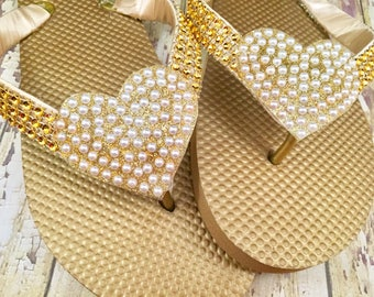Gold Bridal Flip Flops, Bridal Shoes, Gold Heart Flip Flops, Dancing Shoes, Bridal Sandals, Wedding Flip Flops Beach Wedding Shoes Size 8/9