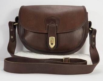Dooney & Bourke Brown Saddle Leather Flap Turn Lock Crossbody Bag - Vintage Rare Brown Leather Saddle Messenger Bag - Leather Shoulder Bag