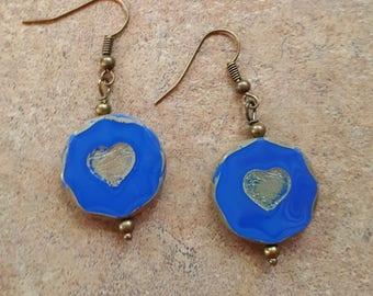 Blue Heart glass earrings Handmade