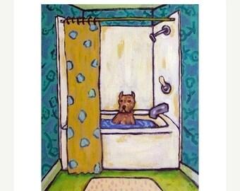 20% off storewide Pit Bull Terrier, pit bull art, bathroom wall art, 11x14 print, modern dog art, folk art, pit bull PRINT
