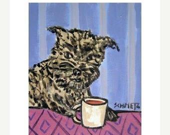 20% off storewide Affenpinscher at the Coffee Shop dog Art Print