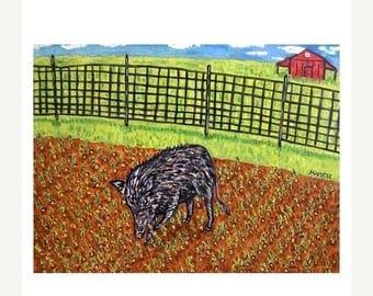 20% off storewide Pig in the Garden Art Print