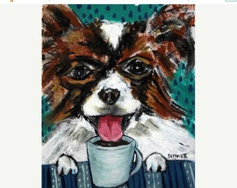 20% off storewide Papillon at the Coffee Shop Dog Art Print
