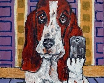 20% off basset hound dog selfie signed art print animals impressionism gift new modern abstract