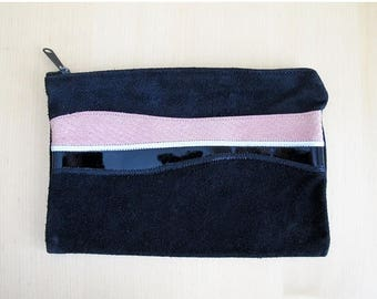 25% Off Sale 70s Black Suede Patchwork Zippered Pouch, Clutch, or Makeup Bag