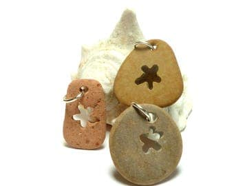 Genuine Drilled Beach Stones SUNBURST Focal Jewelry Beads Pebbles River Rocks Lake Stone Carved Pendants Flower Pattern Rustic Charm