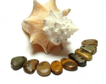 Genuine Drilled Beach Fossil Stones BANANA REPUBLIC Pebbles Sea River Rocks Jewelry Making Beads Dangle Charms Pendants Stone diy