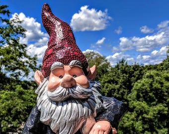 Garden Gnome with a hoe hand painted Garden Gnome super sparkly