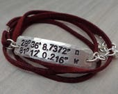 Custom Coordinates Wrap Bracelet - Favorite Place Coordinates-Custom Latitude Longitude-Traveler Gift- Hiker GPS Coordinates Wanderer-B82