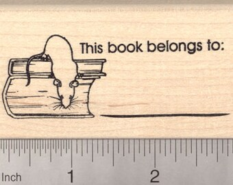 This Book Belongs To... Rat Bookplate Rubber Stamp J7011 Wood Mounted
