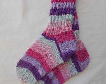 Women's hand knit socks size Small washable wool