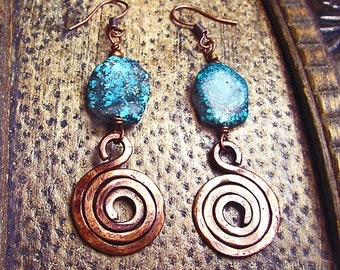 Turquoise Nugget Earrings with Hand Forged Copper Spiral Dangles • Turquoise & Hammered Copper Boho Cowgirl Rustic Dangle / Drop Earrings