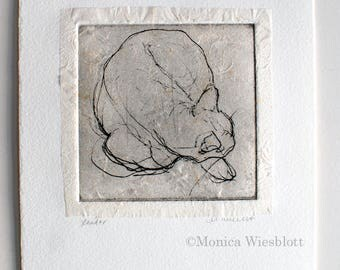 Handprinted etching- Sleeping Cat chine colle-Donation to local cat rescue