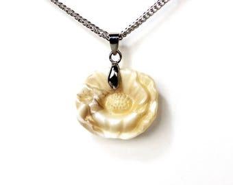 HALF PRICE SALE Vintage glass ivory poppy flower pendant silver necklace