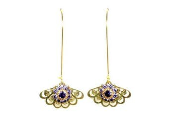 HALF PRICE SALE Vintage golden purple crystal flower filigree fan charm dangle earrings