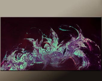 Abstract Art Painting - 48x24 Large Contemporary Canvas Art by Destiny Womack - dWo -  Whispers in the Wind