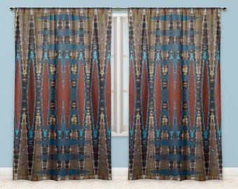 South Western Colours Zigzag Print Fabric Window Curtains
