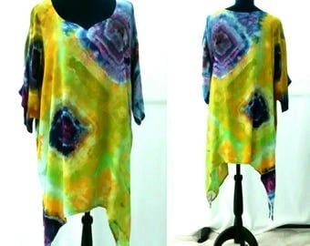 Chartreuse Green Yellow Purple and Blue Asymmetrical Hemline Tunic Ice Dyed Lagenlook Blouse size 2XL