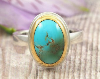 Persian Turquoise Ring - 22K gold and Sterling Silver turquoise ring - natural oval turquoise ring - size 7 - green blue turquoise ring