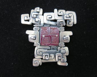 Sterling Silver Modernist Brooch - Jeremy Gicker Red Glass Asian Inspired Studio Jewelry