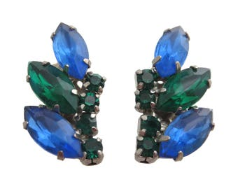 Rhinestone Clip Earrings - Climber Style Blue Green 1950s 1960s Costume Jewelry