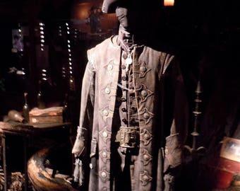 Custom Made Pirates of The Caribbean Blackbeard 4 piece Renaissance Pirate frock coat, vest, shirt and breeches