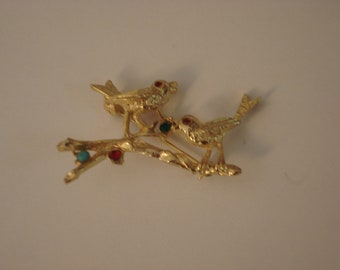 Vintage Birds on a Branch Gold Tone Brooch Pin
