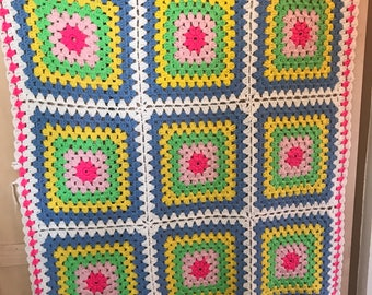 Vintage Crochet Blanket // Bright Colored // 1960s Bedspread // 60s Home Decor // Nursery // Mod // Throw // Bedding // Handmade