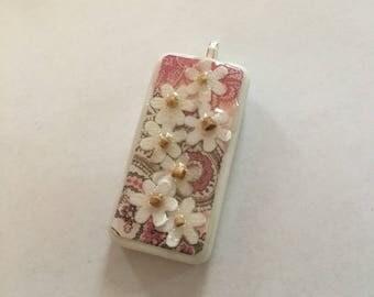 White Flowers Pink Paisley Domino Necklace - Domino Pendant - Domino Jewelry - Stocking Stuffer, Birthday Gift, Secret Santa