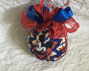 Mickey Mouse Inspired Ornament - Quilted Ornament - Christmas Ornament - Disney Inspired, Stocking Stuffer, Hostess Gift, Secret Santa