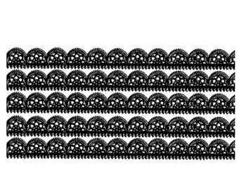 Dresden Trim Germany 5 Rows Fancy Scallop Paper Foil Lace Black  DFW 204 BK
