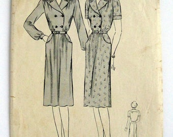 1940s Butterick pattern 2334 Womans  misses Tailored Frock size 20 bust 38 non printed pattern INCOMPLETE